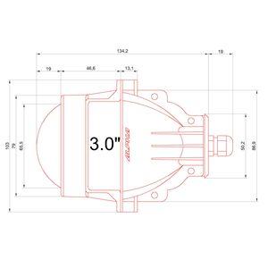 Размеры светодиодных линз Альфа 5 3,0 дюйма