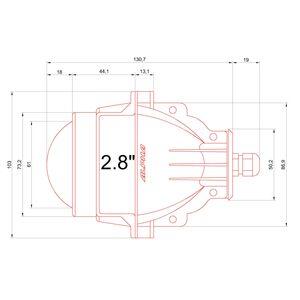 Размеры светодиодных линз Альфа 5 2,8 дюйма