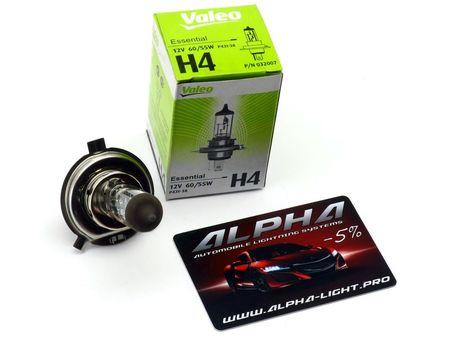 Галогеновая лампа H4 Valeo Essential (standart) 12v 60/55w 032 007